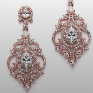 Victorian Scrolls Rose Gold Clip Earrings